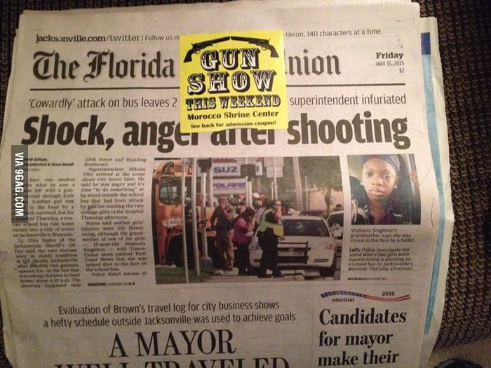 Jacksonville's newspaper puts gun show advertisement sticker over child shooting headline