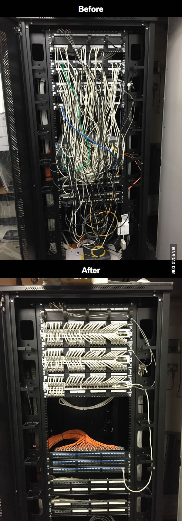 If it's tidy cable management you're after, here's a cabinet I did this weekend