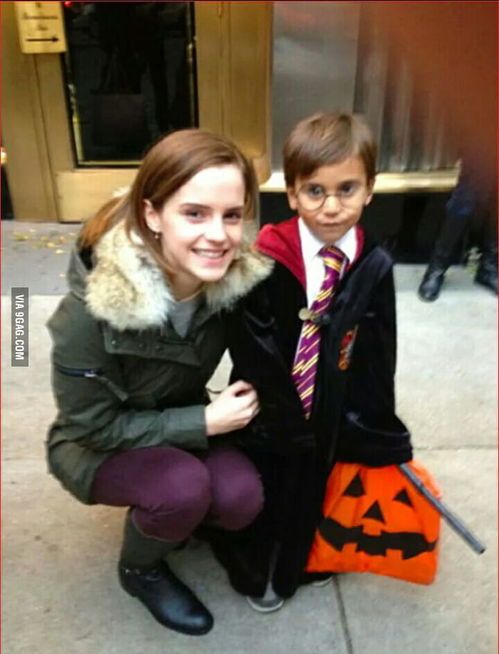 On halloween Emma met this boy and asked if he was Harry. She gave him a hug and called him best friend when he said yes
