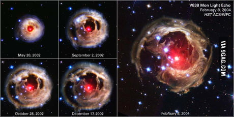 The hubbgle telescope captured a supernova exploding within our galaxy (20k Light years away). This looks beautiful!
