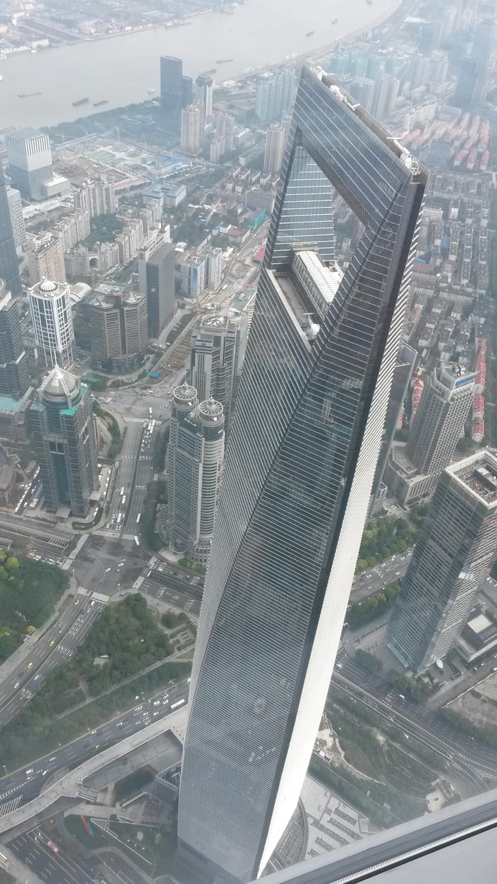 Looking down on the second tallest building in Shanghai from the tallest building in Shanghai