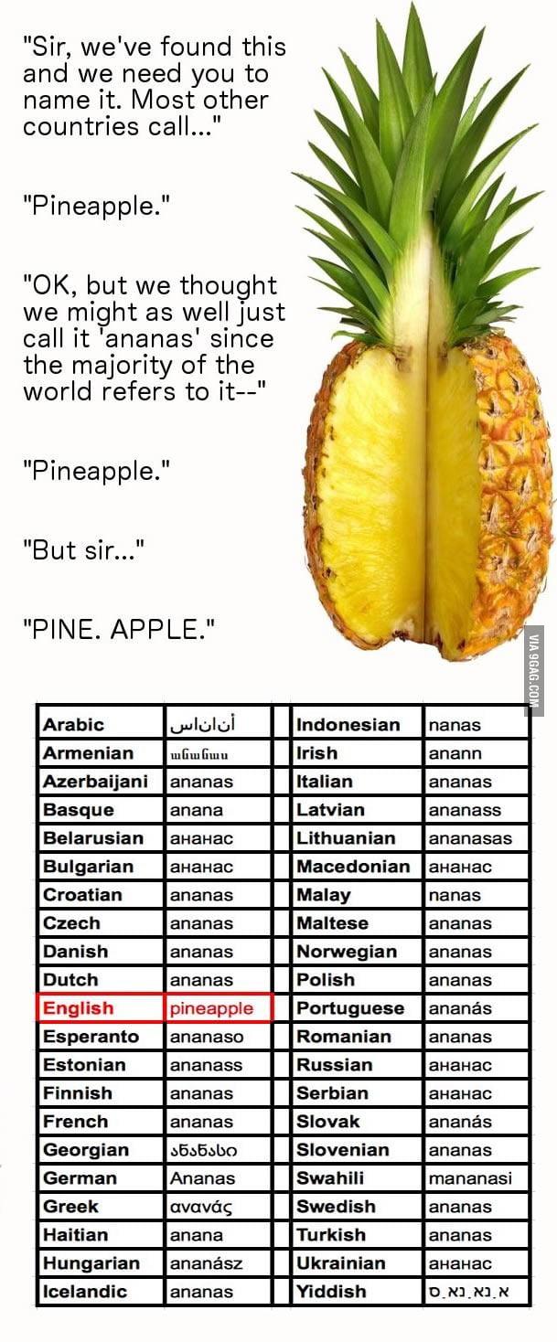 Pine. Apple.
