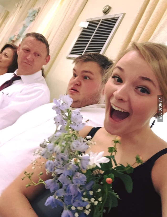 My friend caught the bouquet. That is her boyfriend in the background