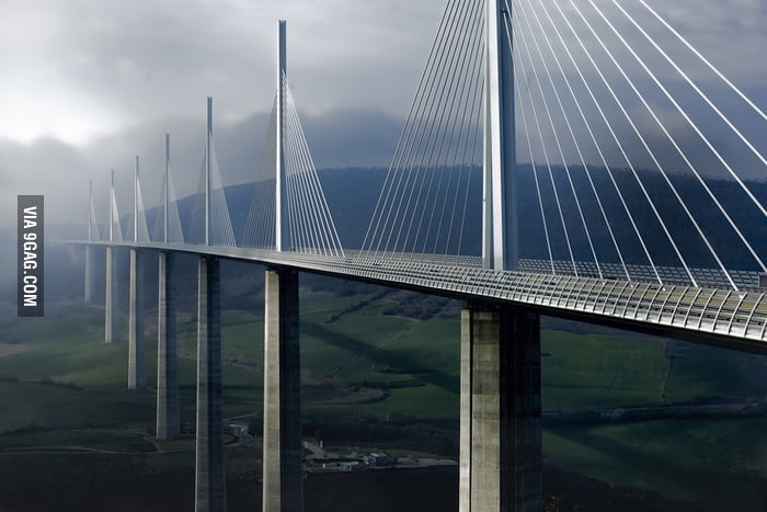 The Millau Viaduct. It is the tallest bridge in the world and consistently ranked as one of the greatest engineering achievements ever.
