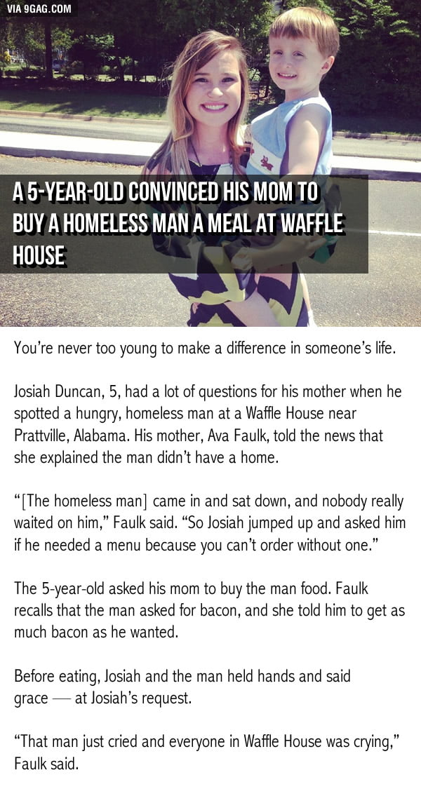 5-year-old convinced his mom to buy a homeless man a meal at Waffle House