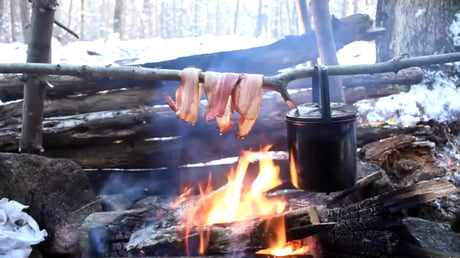 The manliest way to cook bacon ever