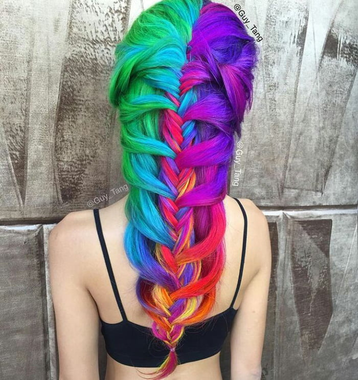 She stole the hair of a unicorn