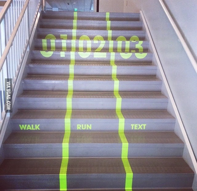 Hate getting stuck behind slow people on the stairs? This school just put these in everywhere on campus.