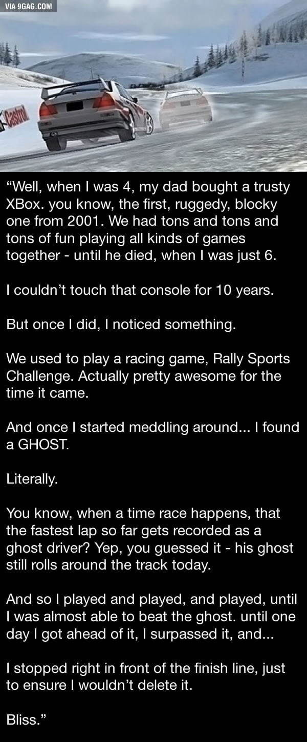 A gamer finds his father's ghost waiting for him in an old game. Oh the feels!