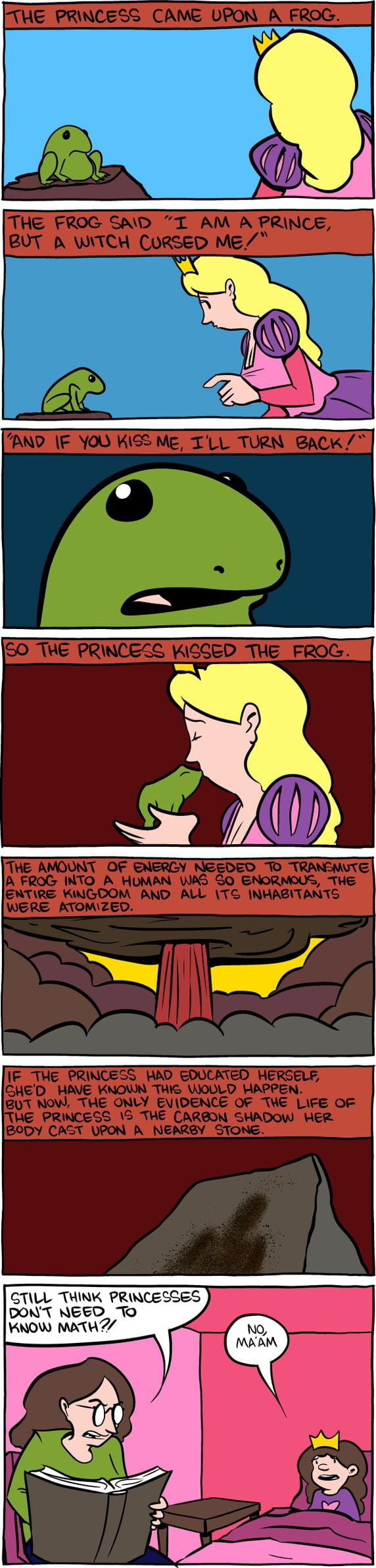 Energy needed to transform the frog into a prince (SMBC Comic)
