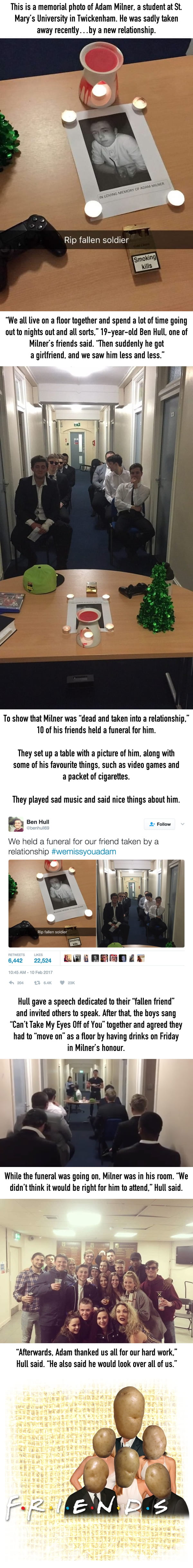 This Guy's Friends Held A Funeral For Him After He Got A Girlfriend