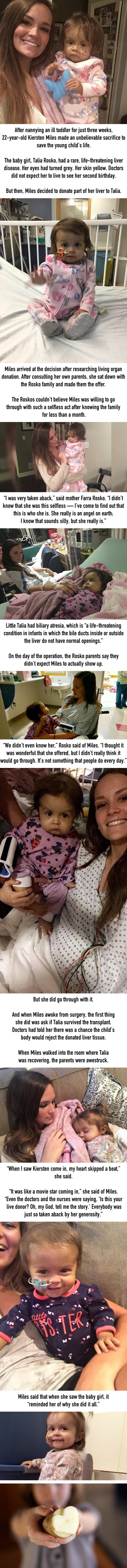 A nanny made an incredible sacrifice to save a sick toddler