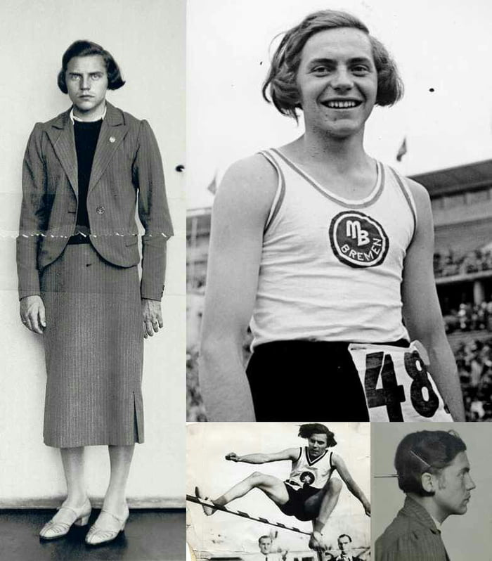 1938: Dora Ratjen, German Olympic athlete, who was arrested at a train station, they thought it was a guy in a dress.