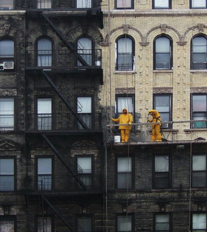 Power washed building in New York.