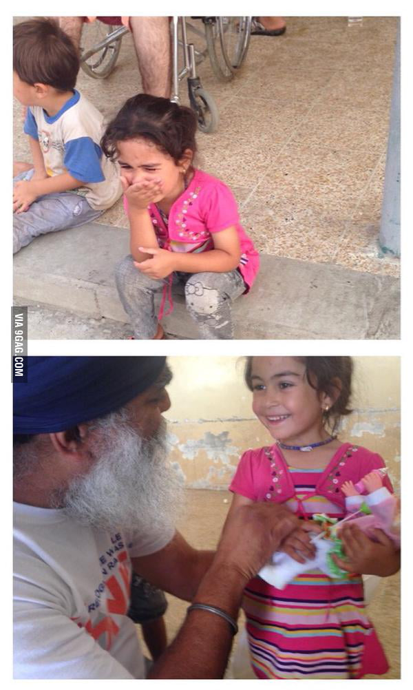 A Yezidi refugee girl was very upset she didn't get a toy during distribution, a volunteer went to the market and bought a doll for her.