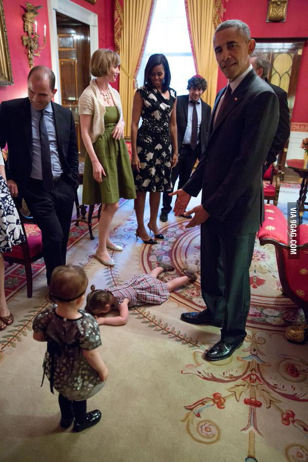 Kid throws a fit next to Obama