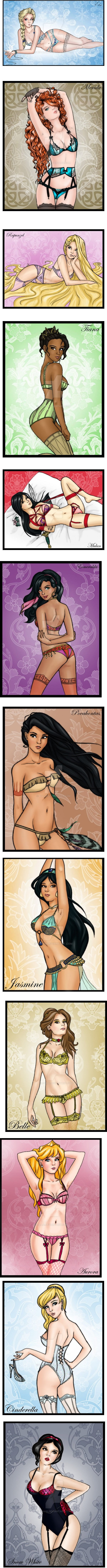 Have you heard that an artist made drawings of the Disney princesses in lingerie... Here you go