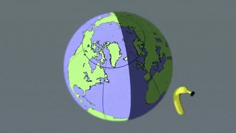 Ever wondered what a moon sized banana orbiting earth would look like?