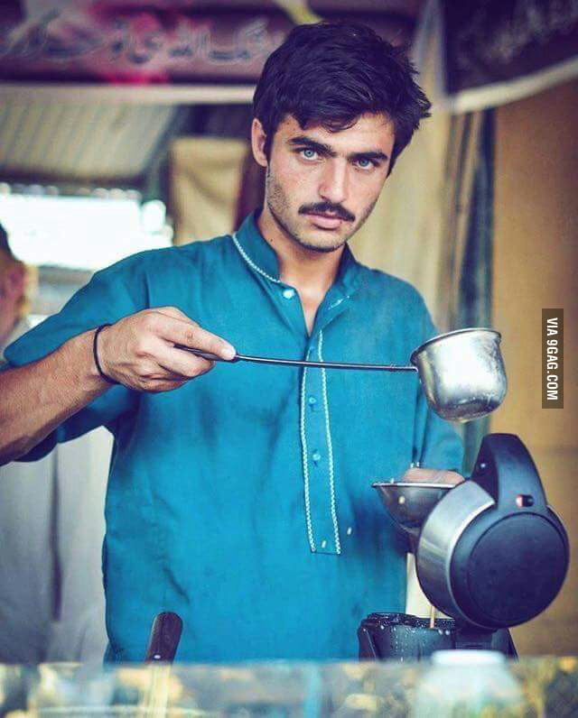 Nope He's not a professional model Just a normal guy who sells Tea in Pakistan