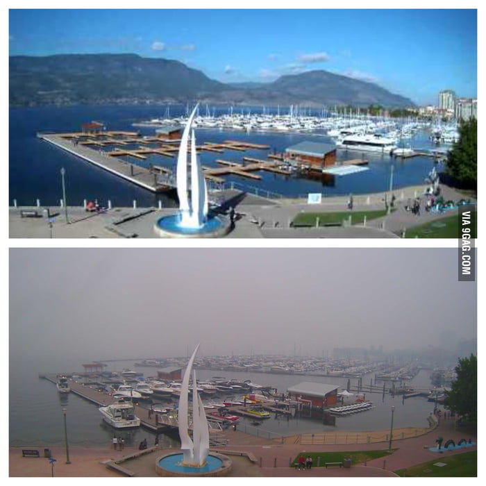 I live in Canada just North of the fires in Washington... This is what it looks like outside (compared to normal)