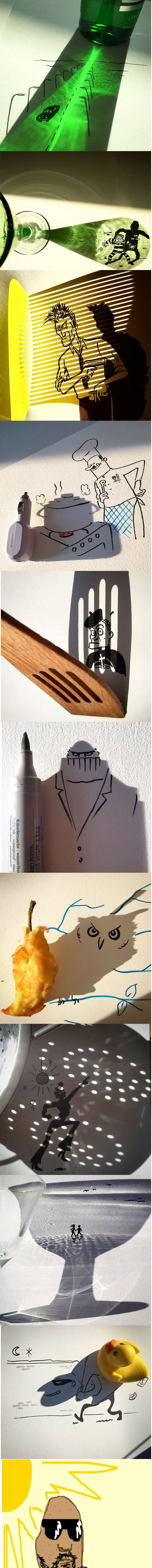 Artist Turns Shadows Of Everyday Objects Into Fun Illustrations (Vincent Bal)