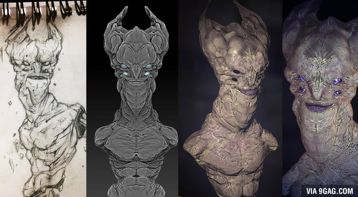 Process of building a 3D character for video game, from sketching concept, sculpt/texturing to real time render.