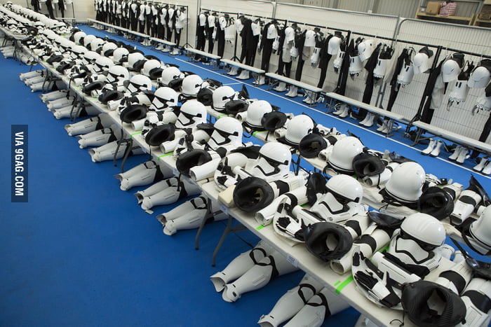 Star Wars The Force Awakens Stormtrooper costumes lined up from behind the scenes