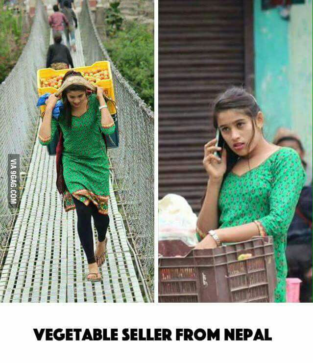 Like the tea seller from Pakistan, here's Nepal's vegetable seller.