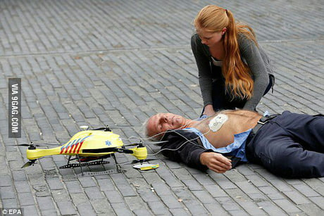 TU Delft build a defibrilator drone that is operated by ems staff it can give cpr insturctions at scene and flies up to 100 km/h