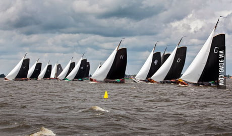 We race these old classic boats in Friesland, Netherlands. It comes with loads of beer and party. What's your awkward sport?