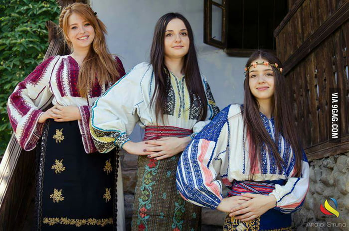 Romanian girls in traditional Romanian outfit.