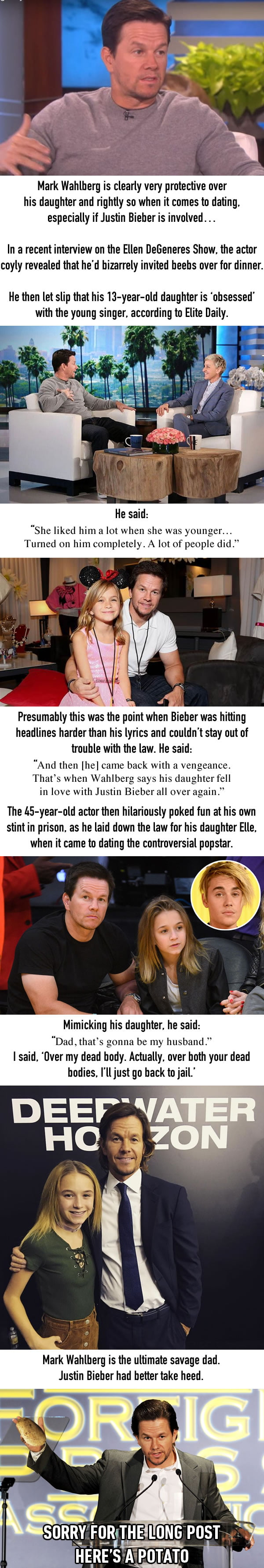 Mark Wahlberg Says He'll Go Back To Prison If Justin Bieber Dates His Daughter