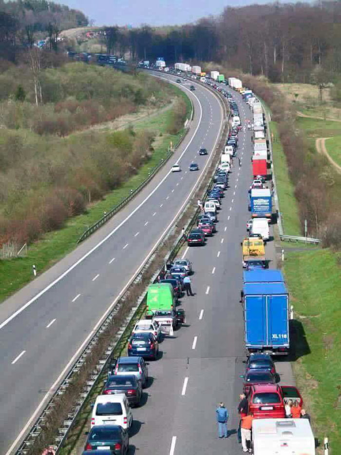 When traffic comes to a complete stop in Germany, the drivers, by law, are required to create an open lane for emergency vehicles