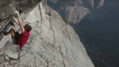 The best free solo (ropeless) climber, Alex Honnold. Calm your palms down.