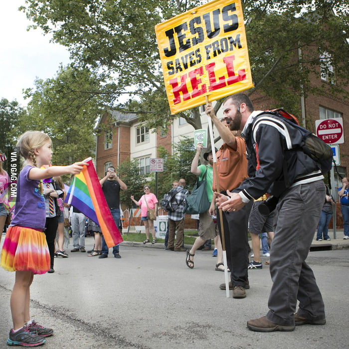 Rainbow Flag Girl vs. Yelling Preacher Man