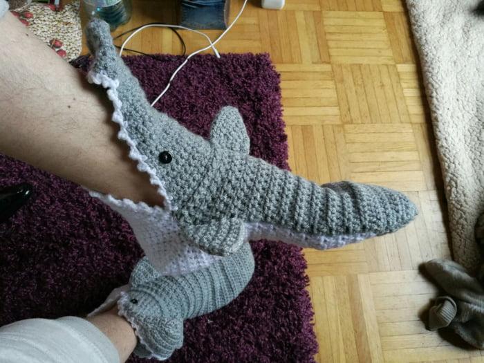 Look at my shark socks. LOOK AT THEM!