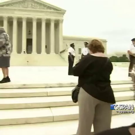 Media interns running out of the Supreme Court today