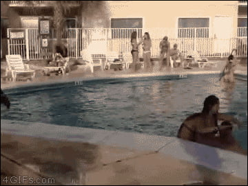 Let's jump over these girls at the pool...