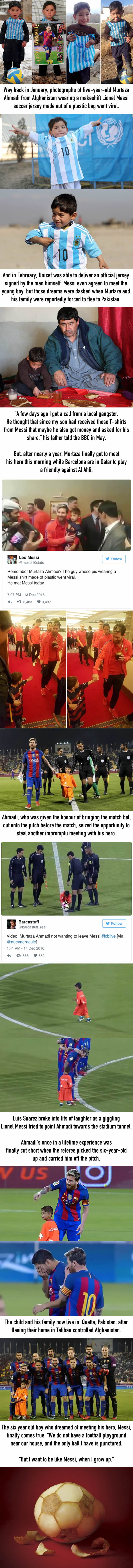 Afghan Boy With Homemade Messi Jersey Finally Gets To Meet His Hero