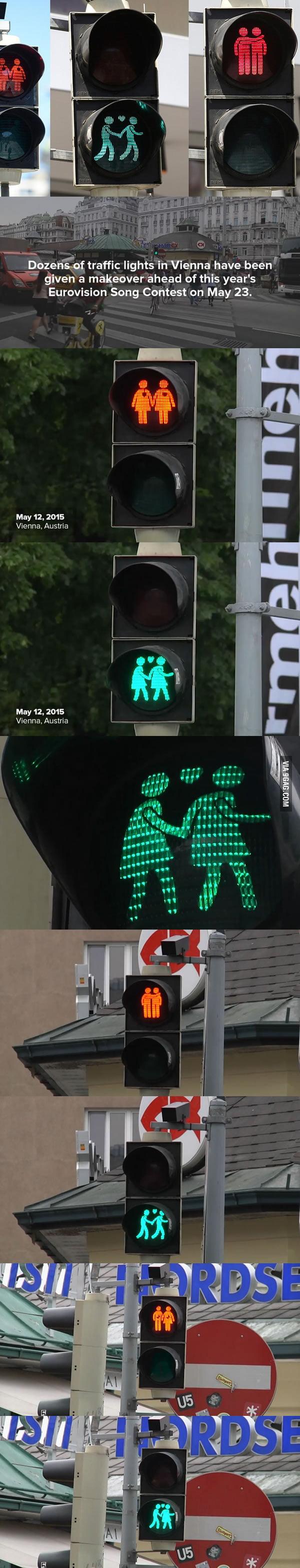 Lesbische und schwule Fußgängerpaare