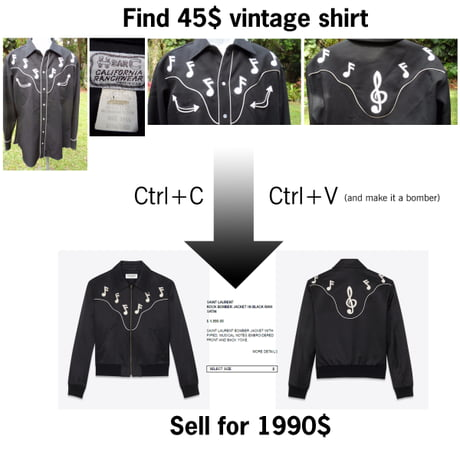 Yves Saint Laurent rips off design from a $45 vintage shirt, sticks it on a jacket, charges $1,990