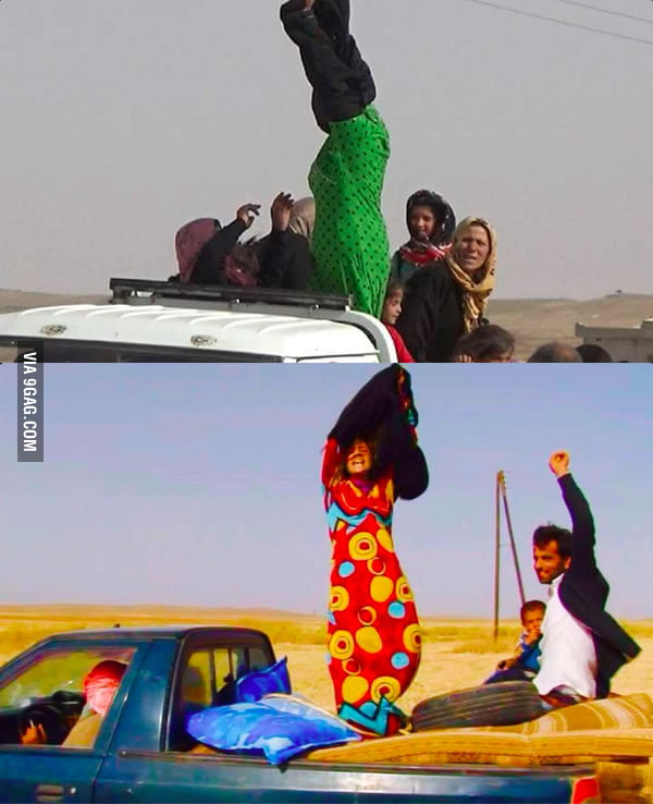 Then and now. Two women fleeing extremist areas throws off her black abaya when reaching a safety checkpoint.
