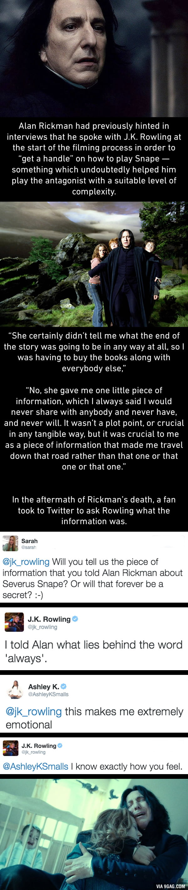 J.K. Rowling reveals how she gave Alan Rickman a major clue about Snape's character. Warning: manly tears will be shed.