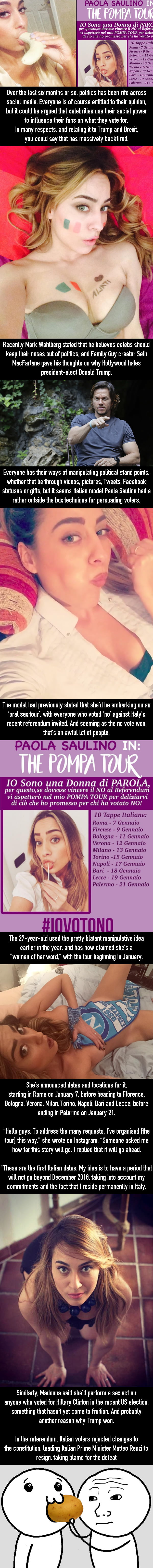 "Model Embarking On Oral Sex Tour For People Who Voted ""No"" In Italy Referendum"