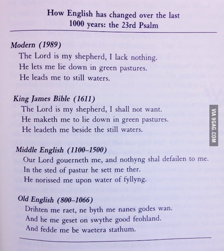 The evolution of English over the past 1000 years