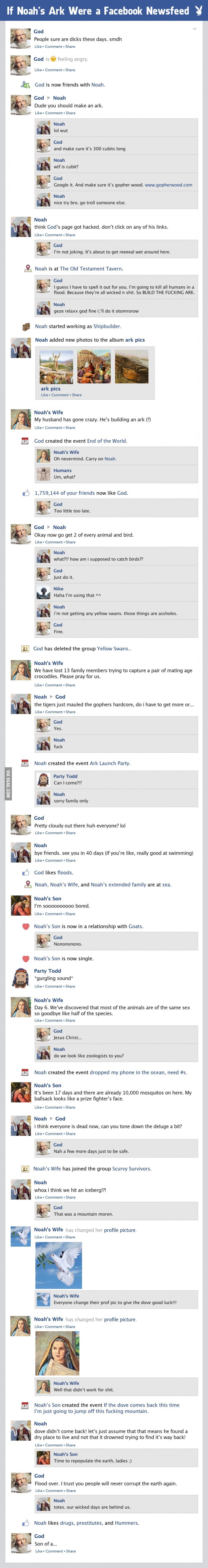 If Noah's ark was a Facebook feed