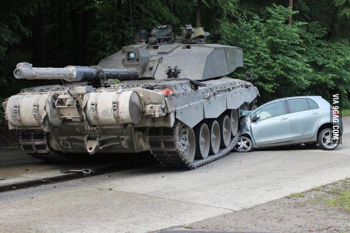 '18-year-old female driver overlooks British armored column' HOW THE HELL CAN SOMEONE OVERLOOK A BIG FAT TANK?