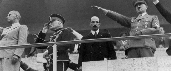 Tsar Boris III of Bulgaria, refusing to salute Hitler, right next to him
