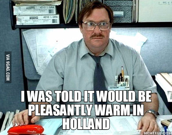 When my dad returned from Nigeria (West Africa) to find a 10 degrees hotter Netherlands