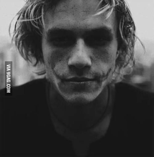 Just Heath Ledger with unfinished Joker makeup